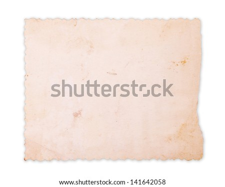 Vintage photo card saved with clipping path - stock photo