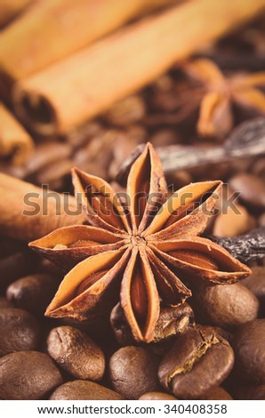 Vintage photo, Closeup of star anise, fresh fragrant cinnamon sticks and coffee grains, seasoning ingredients for cooking or baking - stock photo