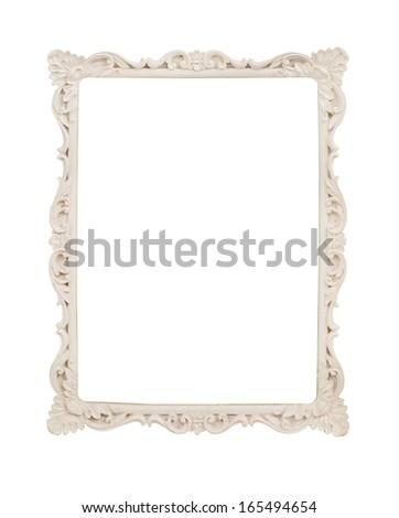 vintage photo frame isolate on white - stock photo