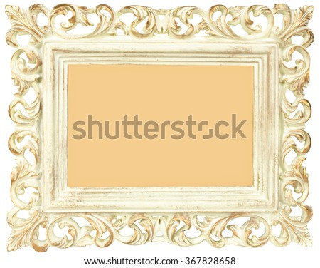 Vintage photo frame standing straight isolated on white background. - stock photo