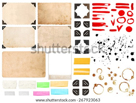 Vintage photo frames with corners, tape strips, stains and strokes isolated on white background