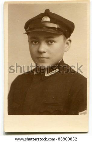 Vintage photo of a boy (twenties) - stock photo