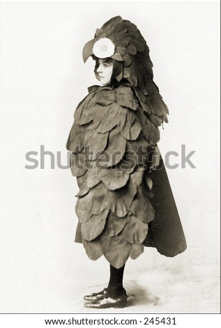 Vintage Photo of a Child Wearing Chicken Costume - stock photo