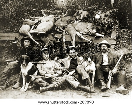 Vintage Photo of a Deer Hunters - stock photo