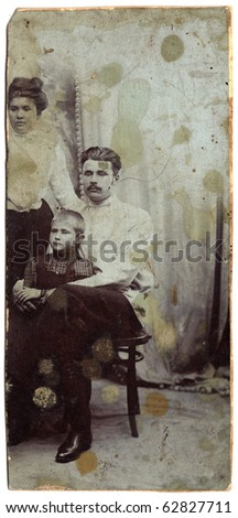 Vintage photo of a family (Russia, end of 19th century) - stock photo