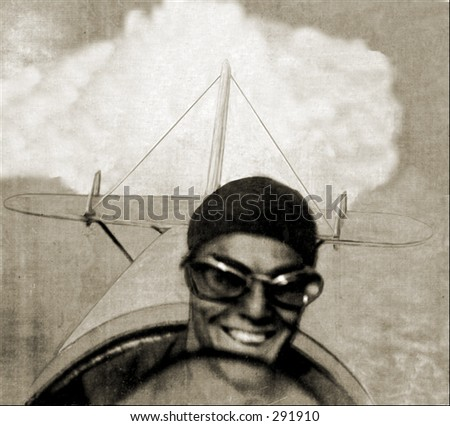 Vintage photo of a Grinning Pilot in Flight - stock photo