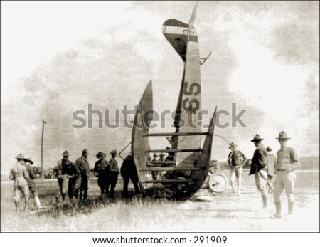Vintage photo of a Plane After Crash - stock photo