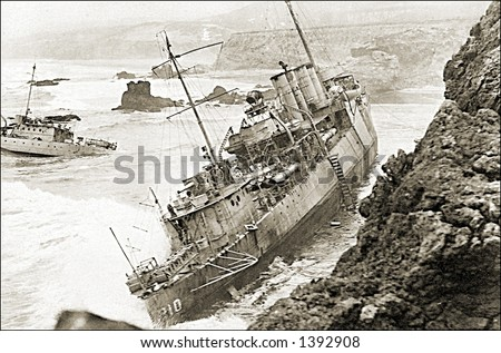 Vintage photo of a Ship Run Aground - stock photo