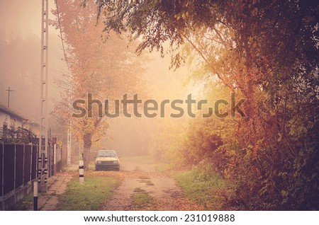 Vintage photo of a village street on a foggy day, detail - stock photo
