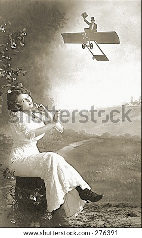 Vintage Photo of a Woman Daydreaming About Flying Gentleman - stock photo