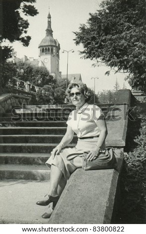 Vintage photo of a woman, sixties - stock photo