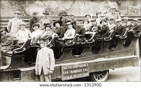 Vintage photo of an Open-Top Tourist Tour Bus - stock photo