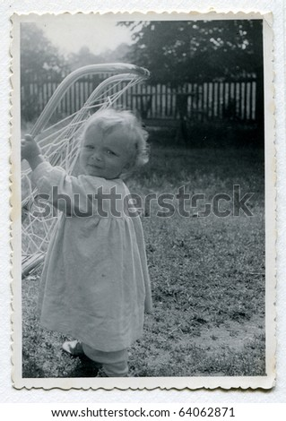 Vintage photo of baby (fifties) - stock photo