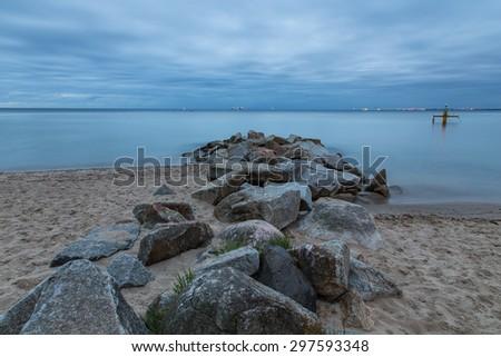 Vintage photo of Baltic sea shore seascape. Seascape Gdynia Orlo - stock photo