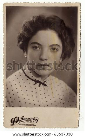 Vintage photo of beautiful woman (Russia, beginning of 20th century) - stock photo
