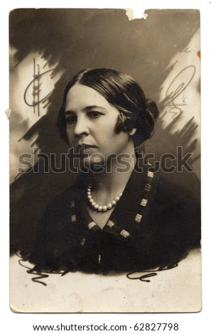 Vintage photo of  beautiful woman (Russia, end of 19th century) - stock photo