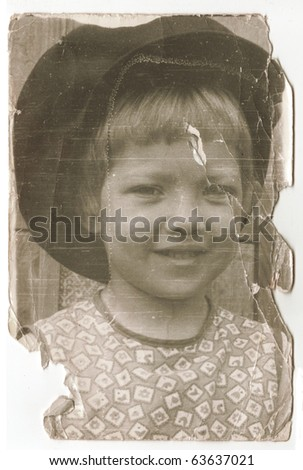 Vintage photo of beautiful young girl(Russia, beginning of 20th century) - stock photo