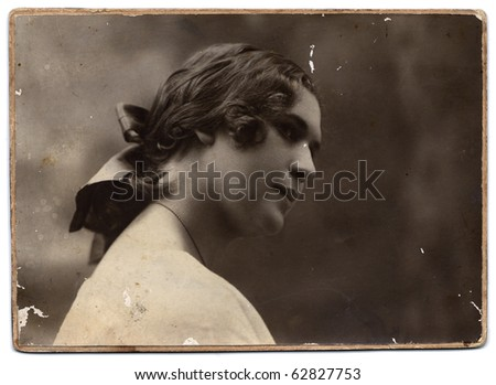 Vintage photo of  beautiful young girl (Russia, end of 19th century) - stock photo