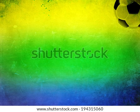 Vintage photo of Brazil flag and soccer ball - World cup concept - stock photo