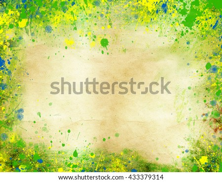 Vintage photo of Brazil map and the colors of the flag                                - stock photo