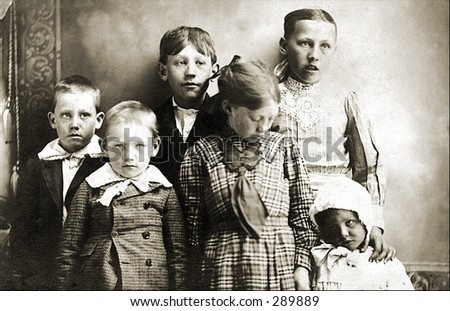Vintage Photo of Brothers And Sisters - stock photo