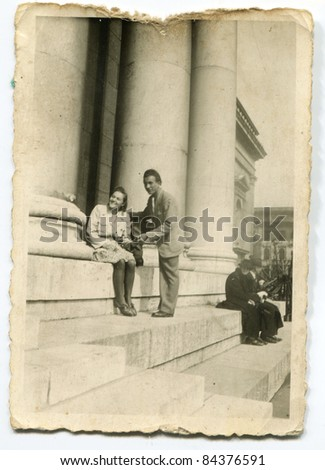 Vintage photo of couple (forties) - stock photo