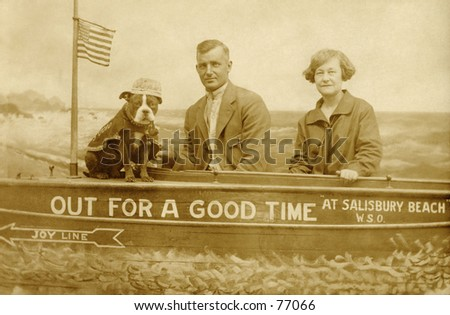 Vintage photo of couple posing for souvenir photo - stock photo
