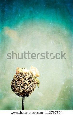 Vintage photo of decoration with roses - stock photo