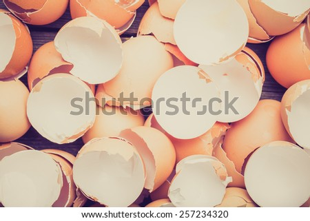 Vintage photo of eggshell on the wooden table - stock photo