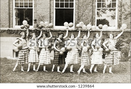 Vintage photo of female cheerleaders - stock photo