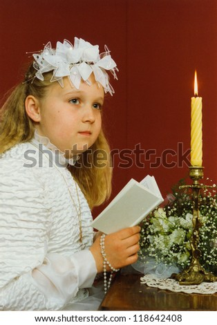 Vintage photo of First Communion (eighties) - stock photo
