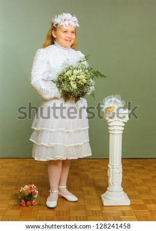 Vintage photo of First Communion (eighties) - stock photo