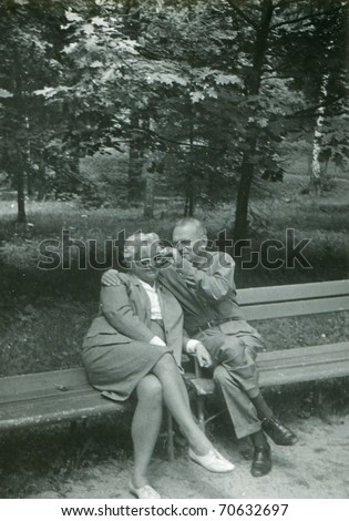Vintage photo of happy couple (fifties) - stock photo