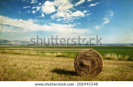 Vintage photo of hay-roll on field after harvest - stock photo