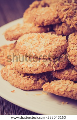 Vintage photo of homemade cookies with coconut