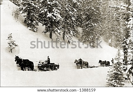 Vintage photo of Horse Drawn Sleighs On Mountain Trail - stock photo