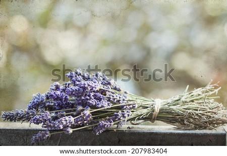 Vintage photo of lavender bouquet - stock photo