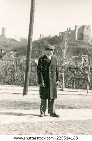 Vintage photo of man, 1944 - stock photo