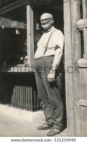 Vintage photo of man (sixties) - stock photo