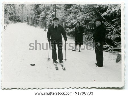 Vintage photo of man skiing (fifties) - stock photo