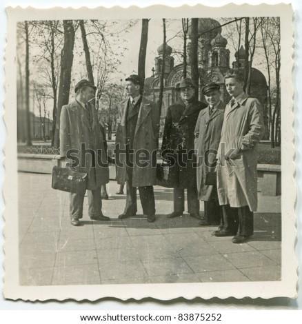 Vintage photo of men (thirties) - stock photo