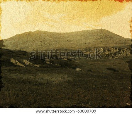 Vintage photo of mountain landscape
