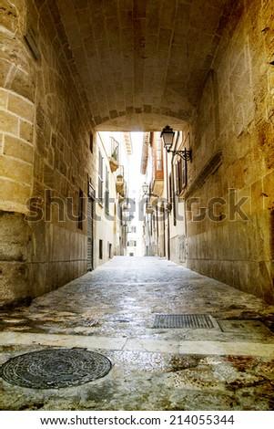 Vintage photo of narrow street in old city of Palma de Mallorca, Spain - stock photo