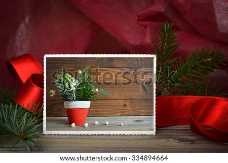 Vintage photo of natural Christmas decoration  - stock photo