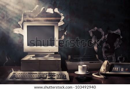 vintage photo of obsolete technology - stock photo