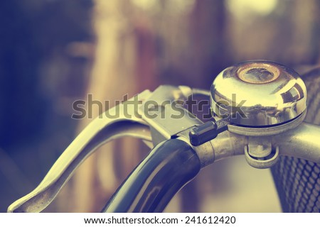 Vintage photo of old retro bicycle bell - stock photo