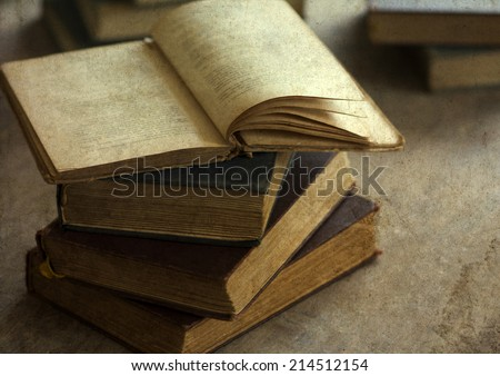 Vintage photo of pile of old books