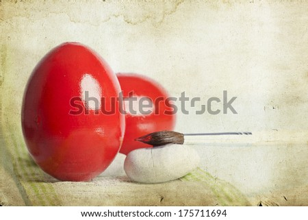 Vintage photo of red Easter eggs  - stock photo