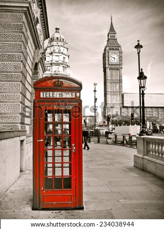 Vintage photo of red telephone box and Big Ben. - stock photo