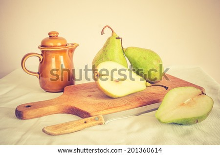 vintage photo of still life with pears